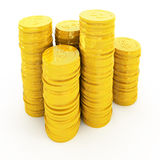 Golden coins isolated on white Stock Photography