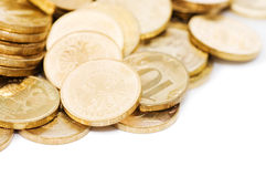 Golden coins isolated on white Stock Image