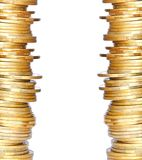 Golden coins isolated on white Stock Photo