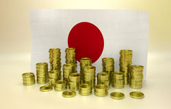 Golden coins and Japanese flag Royalty Free Stock Photos