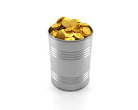 Golden coins in a metal can on white background. 3D illustration. Golden coins in a metal can on white background Royalty Free Stock Photos