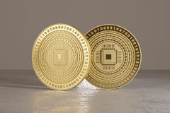 Golden coins on metal floor with cpu logo as example for bitcoin, online banking or fin-tech.  Stock Images
