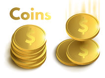 Golden coins. Money  on white background. Royalty Free Stock Photo