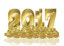 Golden coins New 2017 year background, vector. Illustration vector illustration