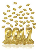 Golden coins new year 2017 card, vector. Illustration Royalty Free Stock Images