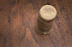 Golden coins. Old italian lira. Vintage golden coind on wooden table Stock Photo