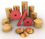 Golden coins on percent Stock Photography