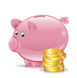 Golden coins with piggy bank Stock Photo