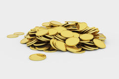 Golden coins pile. Pile of golden coins, 3d render illustration Royalty Free Stock Images