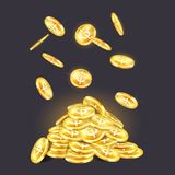 Golden coins pile or stack with falling cash. Falling golden coins on money pile or heap. Metal glowing dollar currency or glowing, shining cash. Economy and Royalty Free Stock Image
