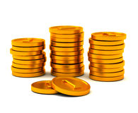 Golden coins, 3d Royalty Free Stock Photography
