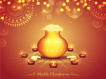Golden coins pot for Diwali and Dhanteras. Glossy Pot full of Gold Coins on Illuminated Lit Lamps decorated Rangoli, Elegant Beautiful Festival Background for vector illustration