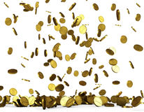 Golden coins rain Stock Photo