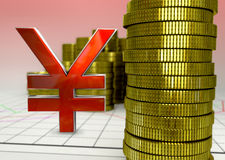 Golden coins and red yen symbol Royalty Free Stock Images