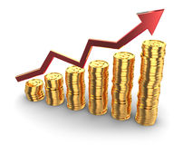 Golden coins rising charts. 3d illustration of coins rising charts with arrow, over white background Stock Images