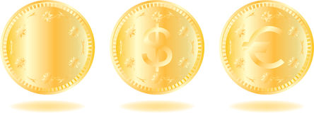 Golden coins set Stock Image