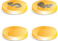 Golden coins set Stock Photos
