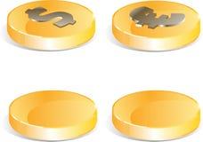 Golden coins set. Euro an Dollars Stock Photos