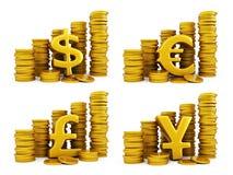 Golden coins set of currencies Stock Photos