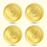 Golden Coins Set. With Currency Sign Stock Images