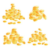 Golden Coins Set Isolated on White Background. Stock Photography