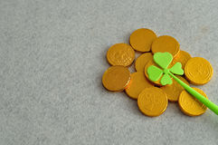 Golden coins with a shamrock Royalty Free Stock Photos