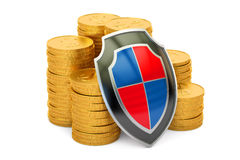 Golden coins with shield, financial insurance and business. Stability concept. 3D Royalty Free Stock Photography
