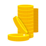Golden Coins in a Stack in Cartoon Style. Stock Image