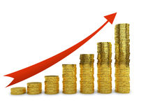 Golden coins stack graph. With increasing red arrow 3D concept render Stock Image