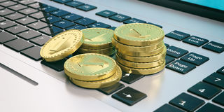 Golden coins stacked on a laptop. 3d illustration Stock Photography