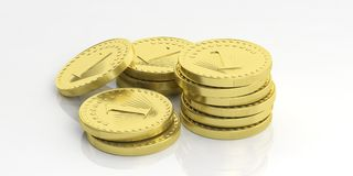Golden coins stacked on white background. 3d illustration. Golden coins stacks isolated on white background. 3d illustration Royalty Free Stock Photo