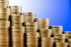 Golden coins in  stacks Royalty Free Stock Images