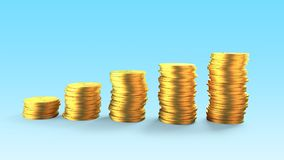 Golden coins stacks, 3D illustration Royalty Free Stock Photography