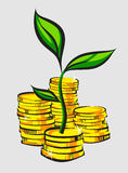 Golden coins stacks with money tree, retro style vector illustration Stock Photo