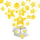 Golden coins and stars with depth of field effect flying from open gift box. On white Stock Image