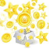 Golden coins and stars with depth of field effect flying from open gift box. On white Stock Photos