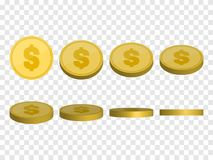 Golden Coins template. Money set isolated. Vector Royalty Free Stock Image