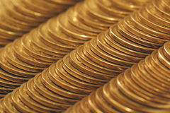 Golden coins. Texture of column golden coins Stock Images