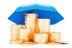 Golden coins under umbrella, financial insurance concept. 3D ren. Golden coins under umbrella, financial insurance concept. 3D Royalty Free Stock Images