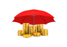 Golden Coins Under an Umbrella Royalty Free Stock Images