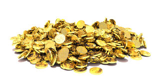 Golden Coins  on white background Stock Images