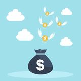 Golden coins with wings flying away from money bag Stock Images