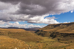 Golden Cold Dry Winter Landscape and Drakensberg Mountains Royalty Free Stock Photography