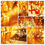 Golden collage of Christmas decorations Royalty Free Stock Photos