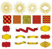 Golden collection of christmas patterns, sunburst, ribbons and labels. Royalty Free Stock Images