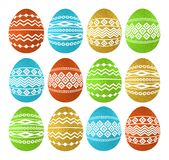 Golden color Easter eggs isolated on white background. Holiday Easter Eggs decorated with geometric shapes. Print design, label,. Sticker, scrap booking, vector vector illustration