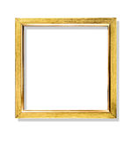 Golden color frame close-up isolated on white Royalty Free Stock Images