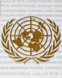 Golden color logo of United Nations Organization. On a first day cover issued by UN Postal Service on 2nd October,2009 Royalty Free Stock Photography
