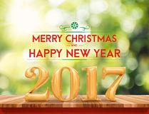 Golden color 2017 Merry Christmas and HappyNew Year (3d renderin stock images