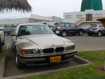 Golden color mint condition BMW 740i four doors, Lima Royalty Free Stock Photo